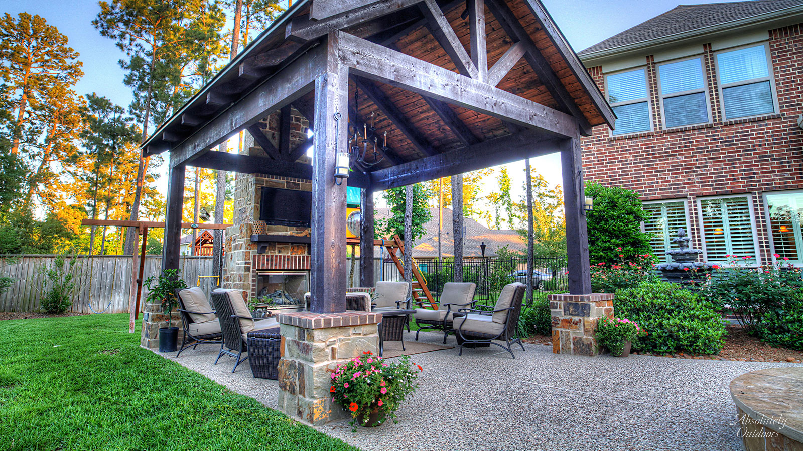 Kid-Friendly Backyard, Pergola, Pavilion, Absolutely Outdoors, Houston, Texas