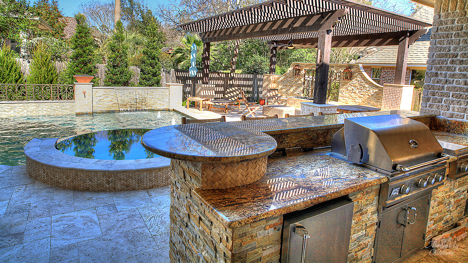 The Woodlands TX Custom Outdoor Kitchen Pool Landscape Design