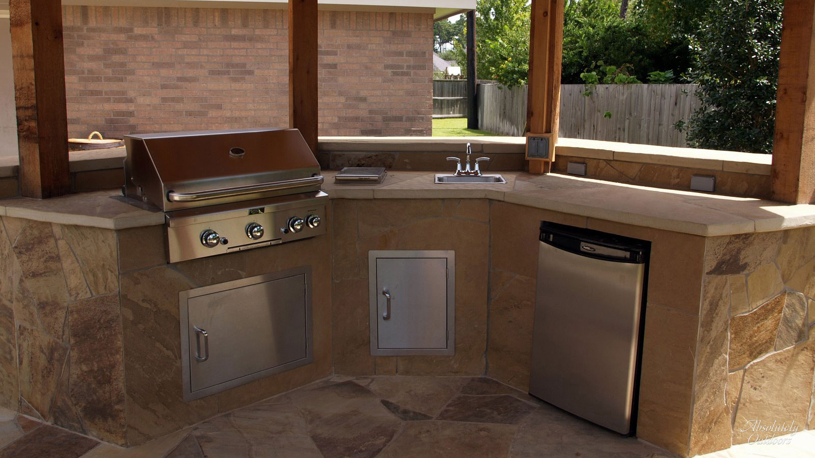 The Woodlands TX Custom Outdoor Kitchen Landscape Design