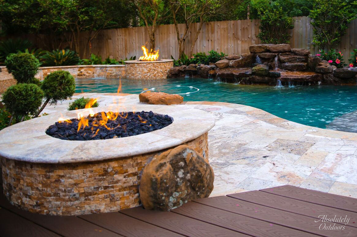 Luxury Landscaping bbq pit the woodlands tx