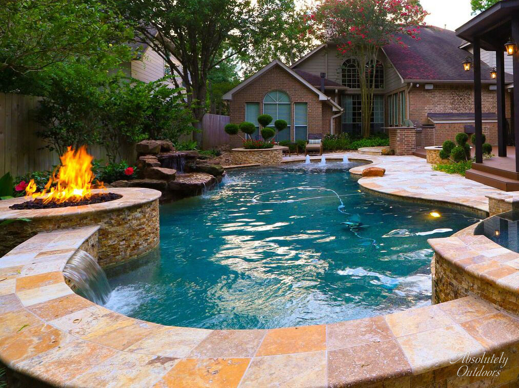 Luxury Landscaping fire pit the woodlands tx